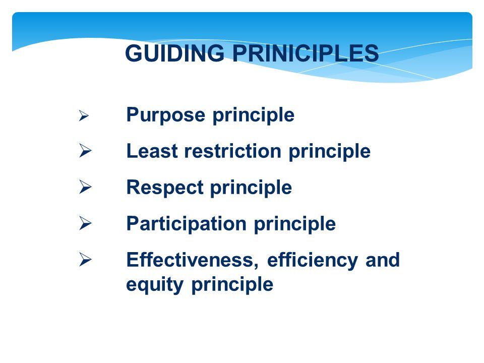 GUIDING PRINICIPLES  Purpose principle  Least restriction principle  Respect principle  Participation principle  Effectiveness, efficiency and equity principle