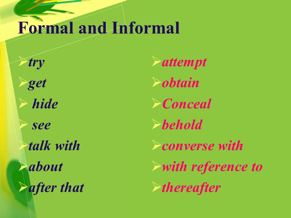 Formal and Informal  try  get  hide  see  talk with  about  after that  attempt  obtain  Conceal  behold  converse with  with reference to  thereafter