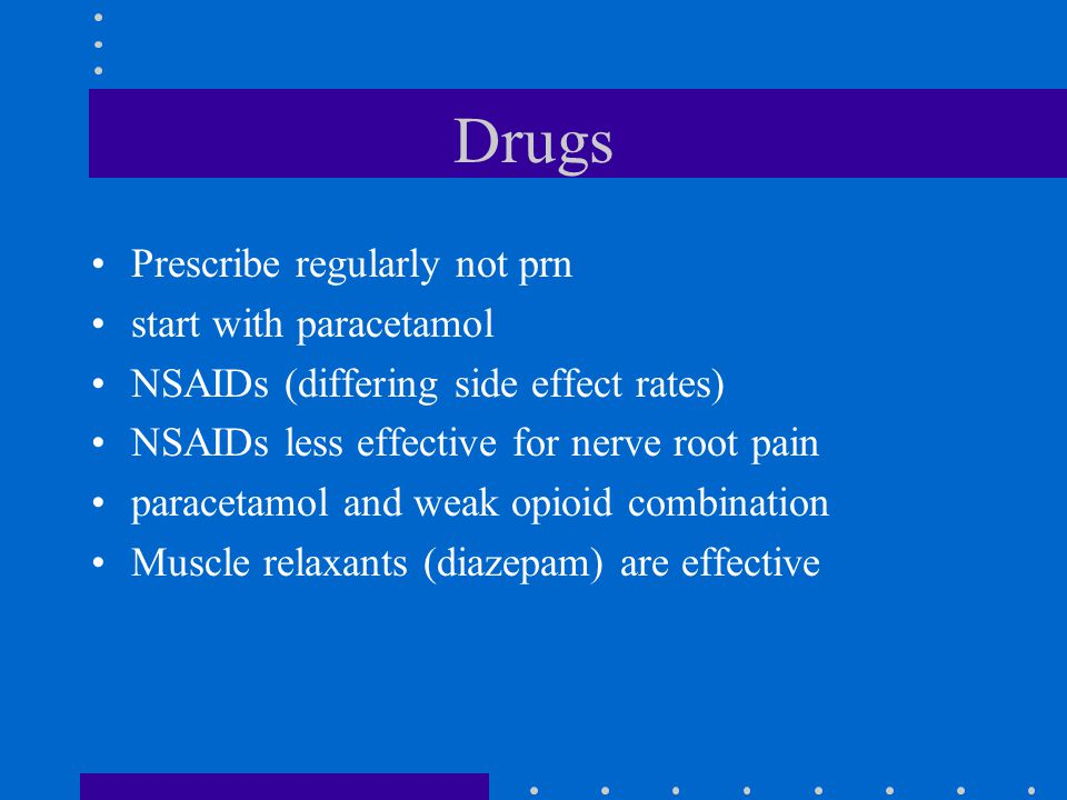Drugs Prescribe regularly not prn start with paracetamol NSAIDs (differing side effect rates) NSAIDs less effective for nerve root pain paracetamol and weak opioid combination Muscle relaxants (diazepam) are effective