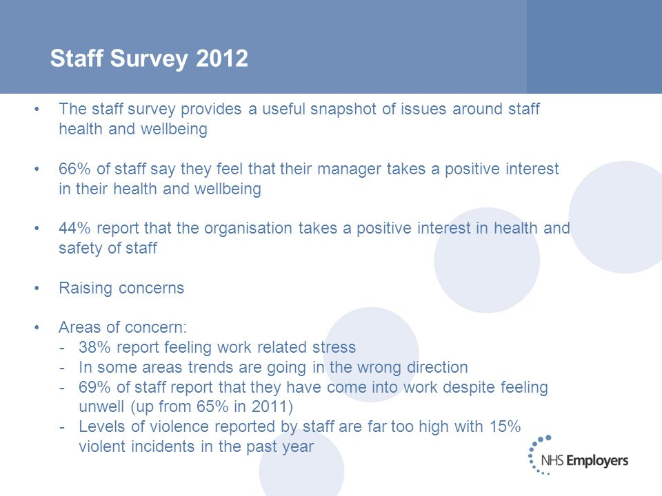 Staff Survey 2012 The staff survey provides a useful snapshot of issues around staff health and wellbeing 66% of staff say they feel that their manager takes a positive interest in their health and wellbeing 44% report that the organisation takes a positive interest in health and safety of staff Raising concerns Areas of concern: -38% report feeling work related stress -In some areas trends are going in the wrong direction -69% of staff report that they have come into work despite feeling unwell (up from 65% in 2011) -Levels of violence reported by staff are far too high with 15% violent incidents in the past year