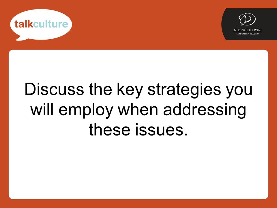 Discuss the key strategies you will employ when addressing these issues.
