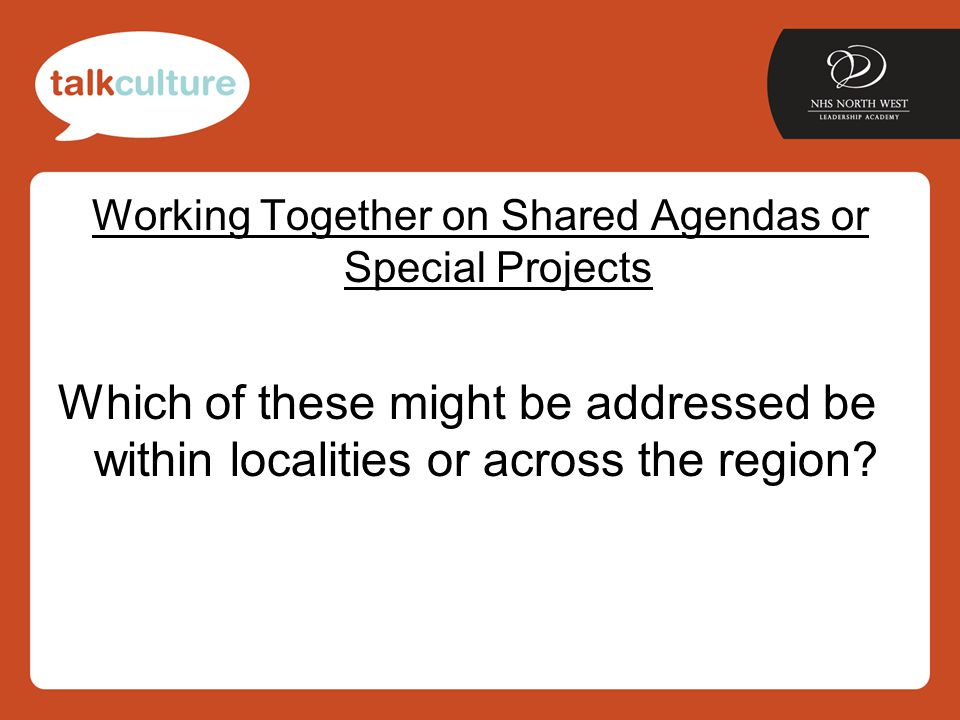 Working Together on Shared Agendas or Special Projects Which of these might be addressed be within localities or across the region?