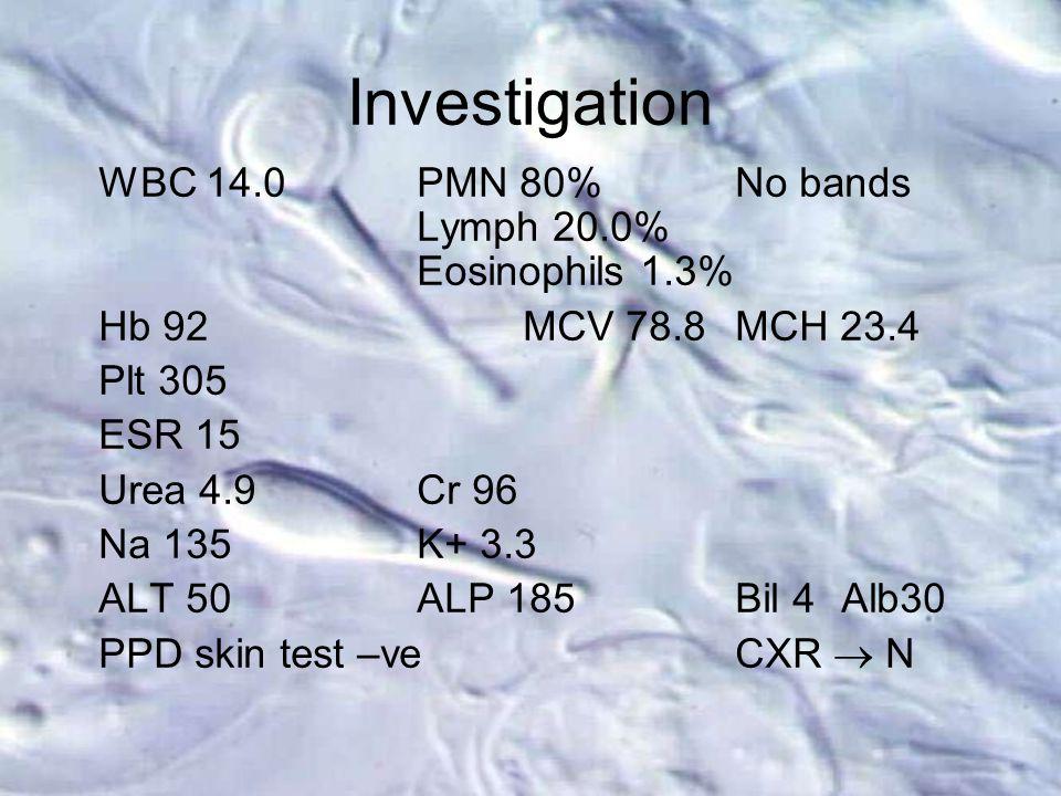 Investigation WBC 14.0PMN 80%No bands Lymph 20.0% Eosinophils 1.3% Hb 92MCV 78.8MCH 23.4 Plt 305 ESR 15 Urea 4.9Cr 96 Na 135K+ 3.3 ALT 50ALP 185Bil 4A