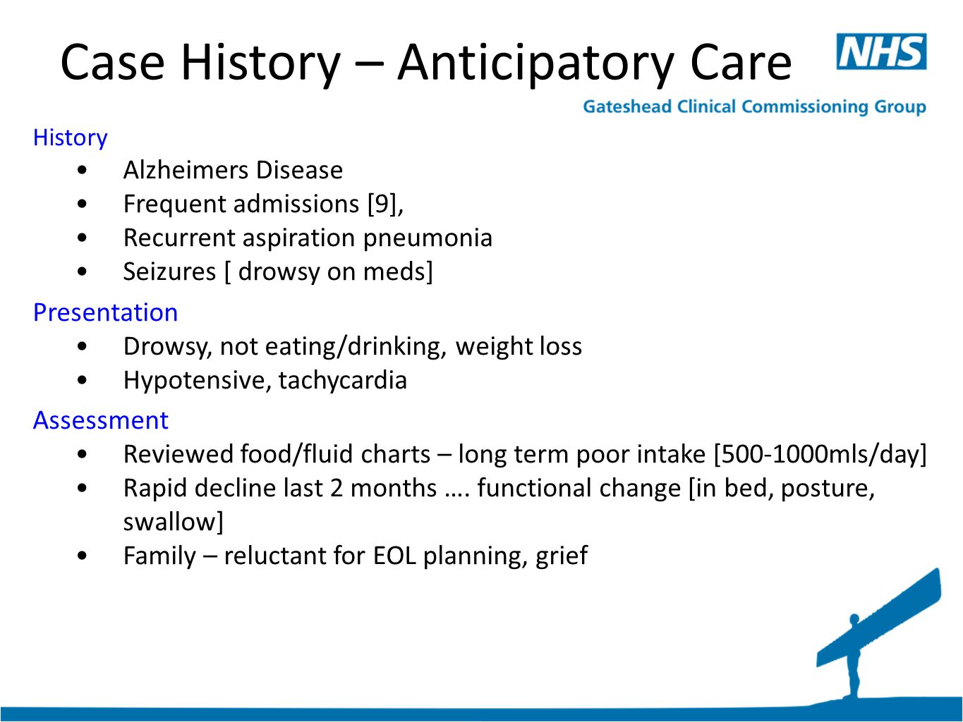 Case History – Anticipatory Care History Alzheimers Disease Frequent admissions [9], Recurrent aspiration pneumonia Seizures [ drowsy on meds] Presentation Drowsy, not eating/drinking, weight loss Hypotensive, tachycardia Assessment Reviewed food/fluid charts – long term poor intake [500-1000mls/day] Rapid decline last 2 months ….