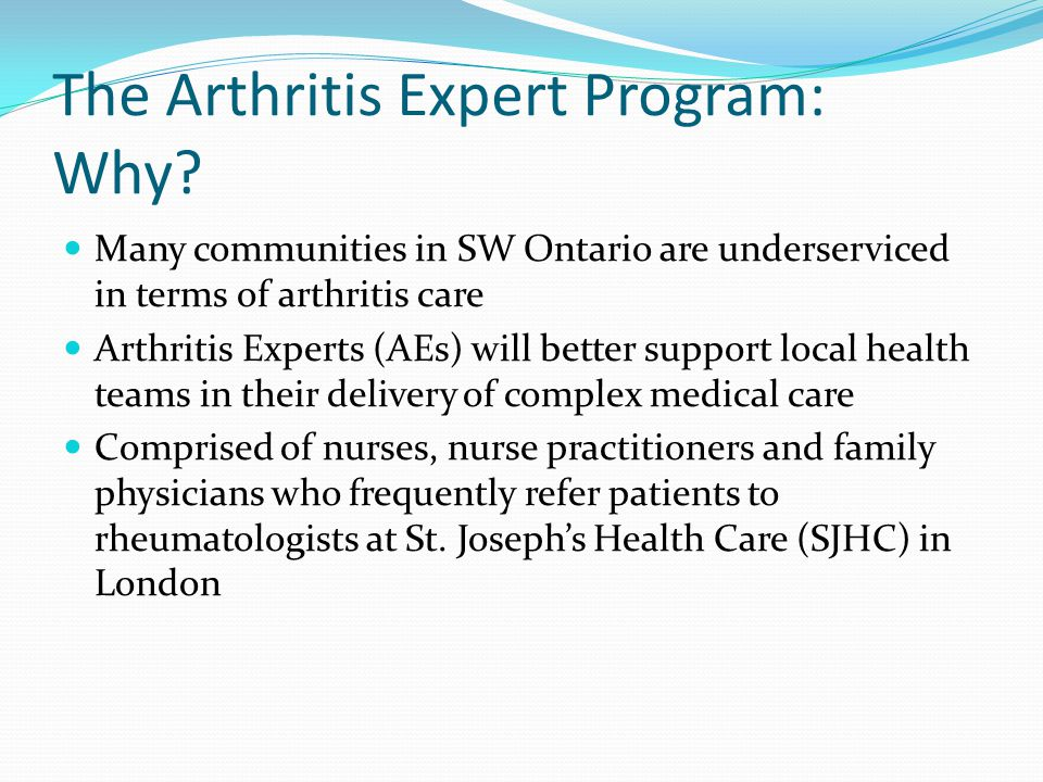 The Arthritis Expert Program: Why.