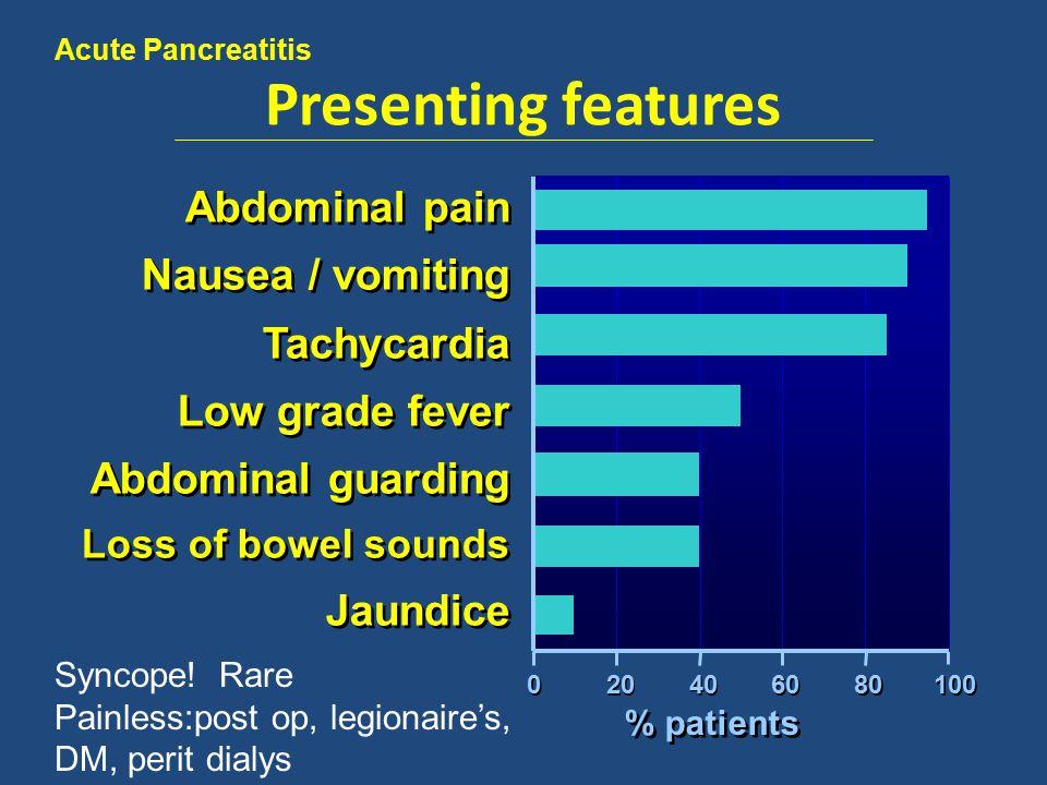 Ranson At presentation Age >55 White blood cell count >16 Blood glucose >200 mg/dL LDH >350 U/L AST >250 U/L At 48 hours Hematocrit Fall by ≥10% BUN Increase by ≥5 mg/dL despite fluids Serum calcium <8 mg/dL pO2 <60 mmHg Base deficit >4 MEq/L Fluid sequestation >6 L 1-2 criteria - > <1% mortal 3-5 cirteria - > 15% mortal 6-8 criteria- > 60% mortal 9-11 -> >75% mortal.