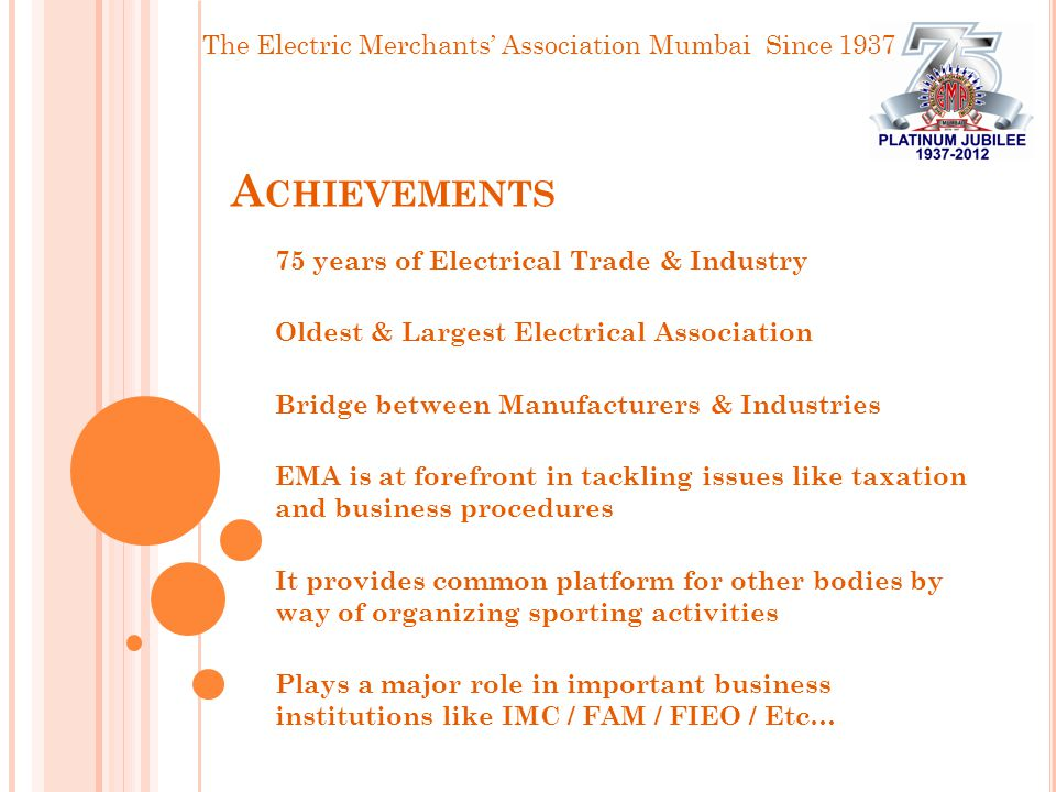 The Electric Merchants' Association Mumbai Since 1937 A CHIEVEMENTS 75 years of Electrical Trade & Industry Oldest & Largest Electrical Association Bridge between Manufacturers & Industries EMA is at forefront in tackling issues like taxation and business procedures It provides common platform for other bodies by way of organizing sporting activities Plays a major role in important business institutions like IMC / FAM / FIEO / Etc…