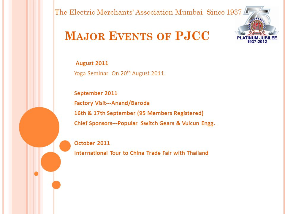 The Electric Merchants' Association Mumbai Since 1937 M AJOR E VENTS OF PJCC August 2011 Yoga Seminar On 20 th August 2011.