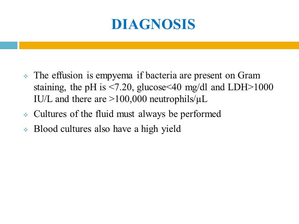 DIAGNOSIS  The effusion is empyema if bacteria are present on Gram staining, the pH is 1000 IU/L and there are >100,000 neutrophils/µL  Cultures of