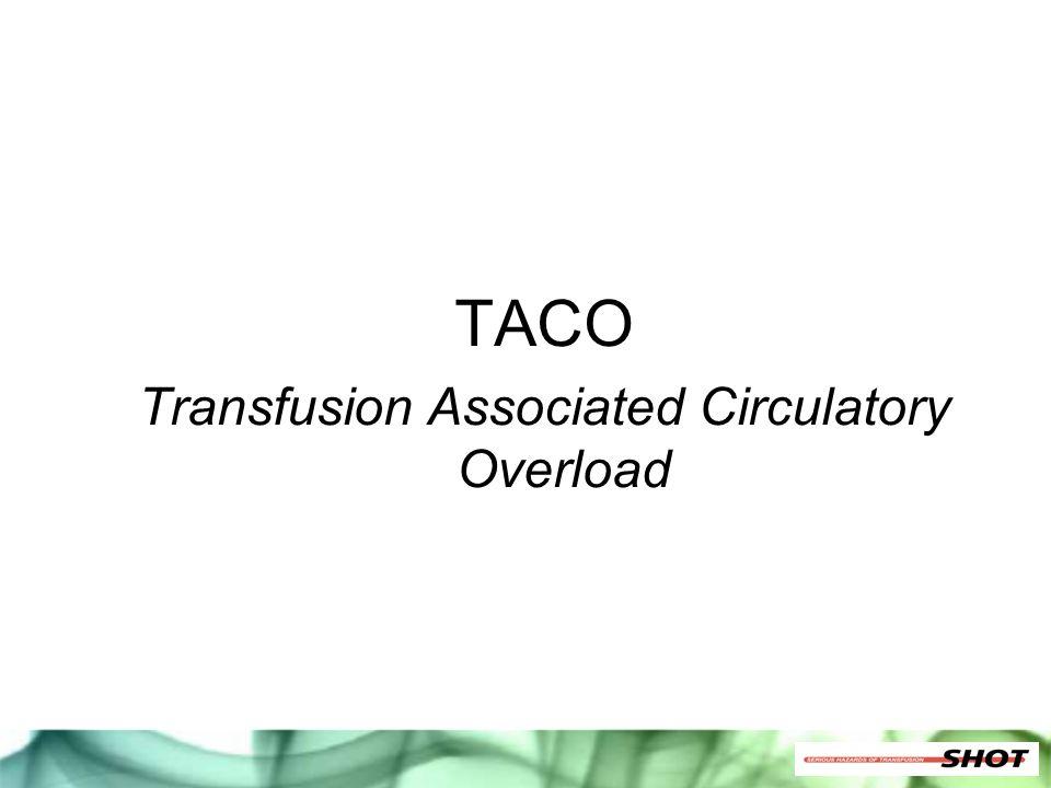 TACO Transfusion Associated Circulatory Overload