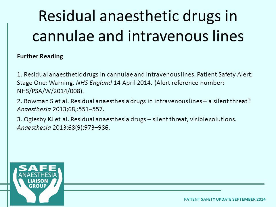 Residual anaesthetic drugs in cannulae and intravenous lines Further Reading 1.
