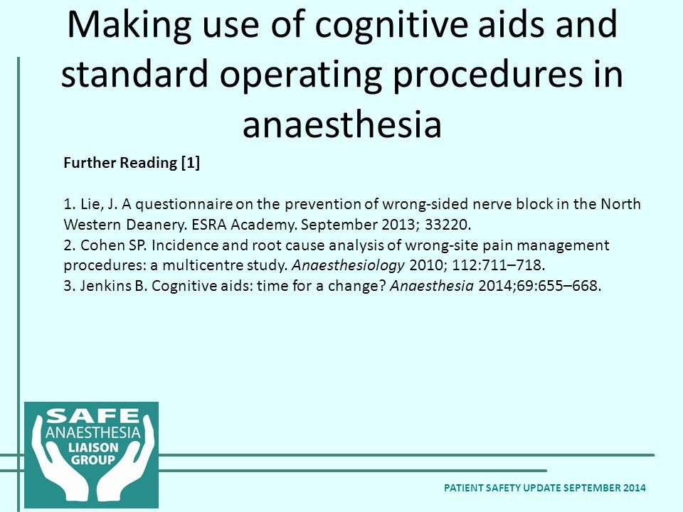 PATIENT SAFETY UPDATE SEPTEMBER 2014 Further Reading [1] 1.