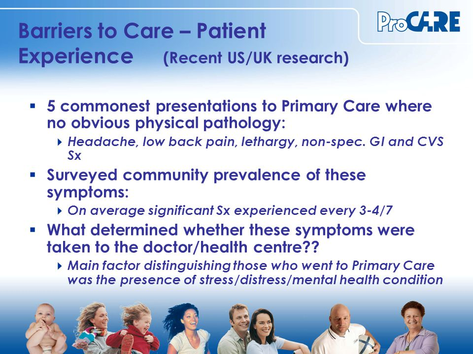 Barriers to Care – Patient Experience (Recent US/UK research)  5 commonest presentations to Primary Care where no obvious physical pathology:  Headache, low back pain, lethargy, non-spec.