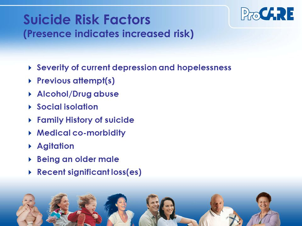 Suicide Risk Factors (Presence indicates increased risk)  Severity of current depression and hopelessness  Previous attempt(s)  Alcohol/Drug abuse  Social isolation  Family History of suicide  Medical co-morbidity  Agitation  Being an older male  Recent significant loss(es)