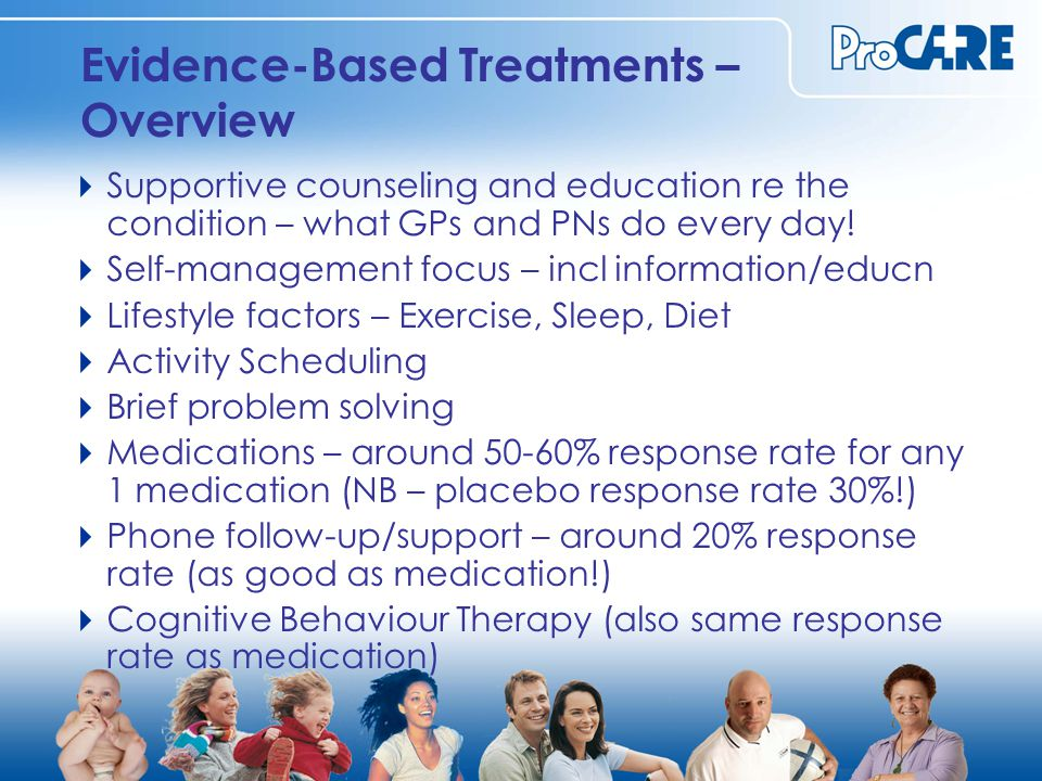 Evidence-Based Treatments – Overview  Supportive counseling and education re the condition – what GPs and PNs do every day.
