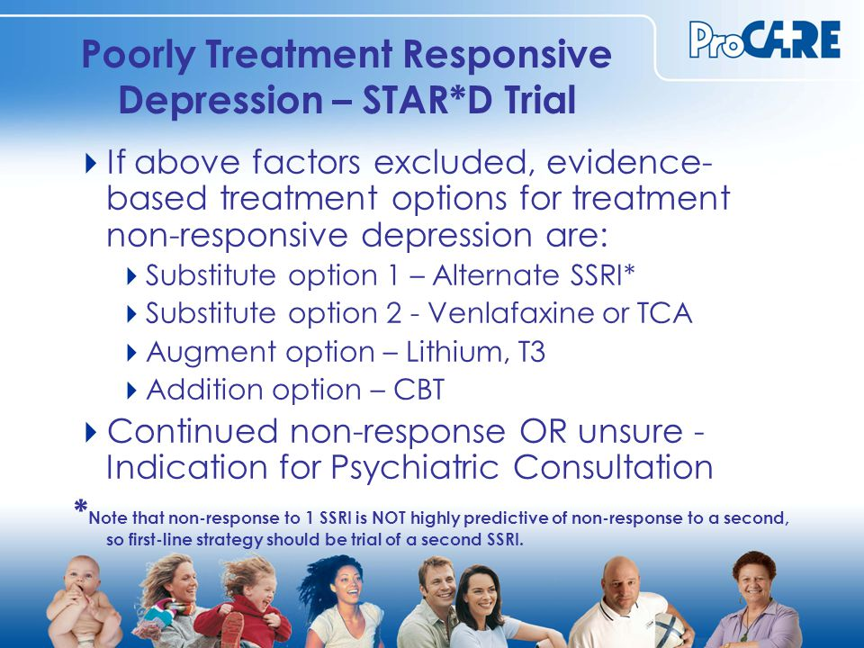 Poorly Treatment Responsive Depression – STAR*D Trial  If above factors excluded, evidence- based treatment options for treatment non-responsive depression are:  Substitute option 1 – Alternate SSRI*  Substitute option 2 - Venlafaxine or TCA  Augment option – Lithium, T3  Addition option – CBT  Continued non-response OR unsure - Indication for Psychiatric Consultation * Note that non-response to 1 SSRI is NOT highly predictive of non-response to a second, so first-line strategy should be trial of a second SSRI.