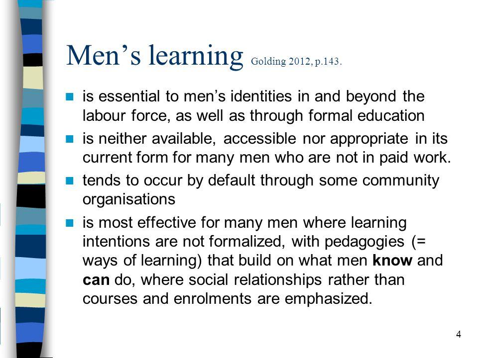 Men's learning Golding 2012, p.143.