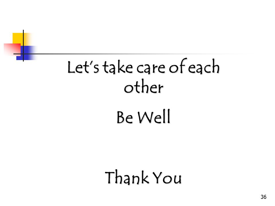 36 Let's take care of each other Be Well Thank You
