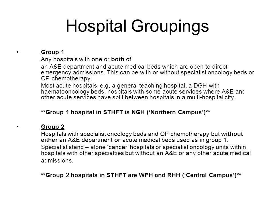 Hospital Groupings Group 1 Any hospitals with one or both of an A&E department and acute medical beds which are open to direct emergency admissions.