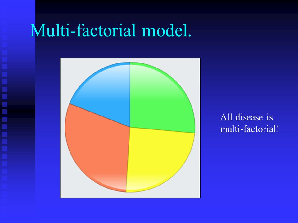Multi-factorial model. All disease is multi-factorial!
