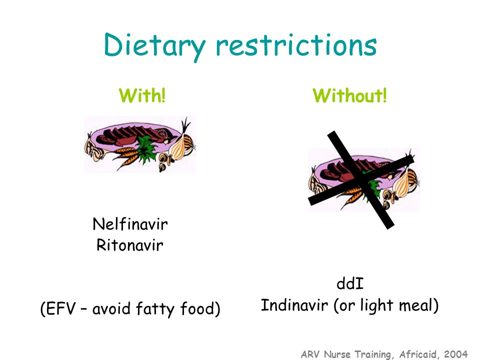 ARV Nurse Training, Africaid, 2004 Dietary restrictions With.