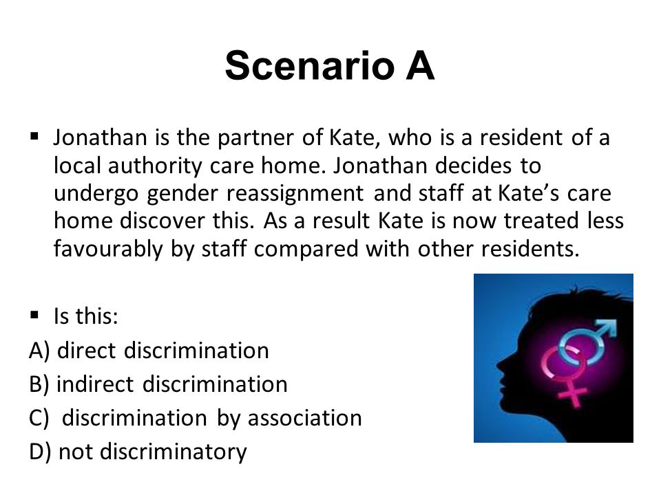 Scenario A   Jonathan is the partner of Kate, who is a resident of a local authority care home.