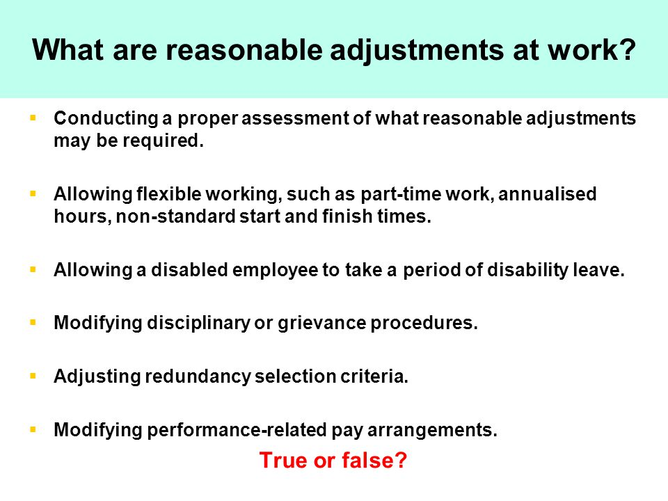 What are reasonable adjustments at work.