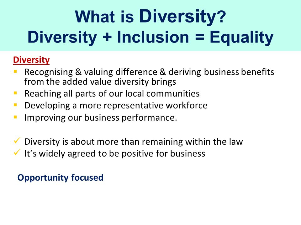 No equality without inclusion Diversity + Inclusion = Equality Quality cannot be delivered successfully without equality as an integral part Our attitudes, behaviours & assumptions in the workplace can make the difference in achieving inclusion