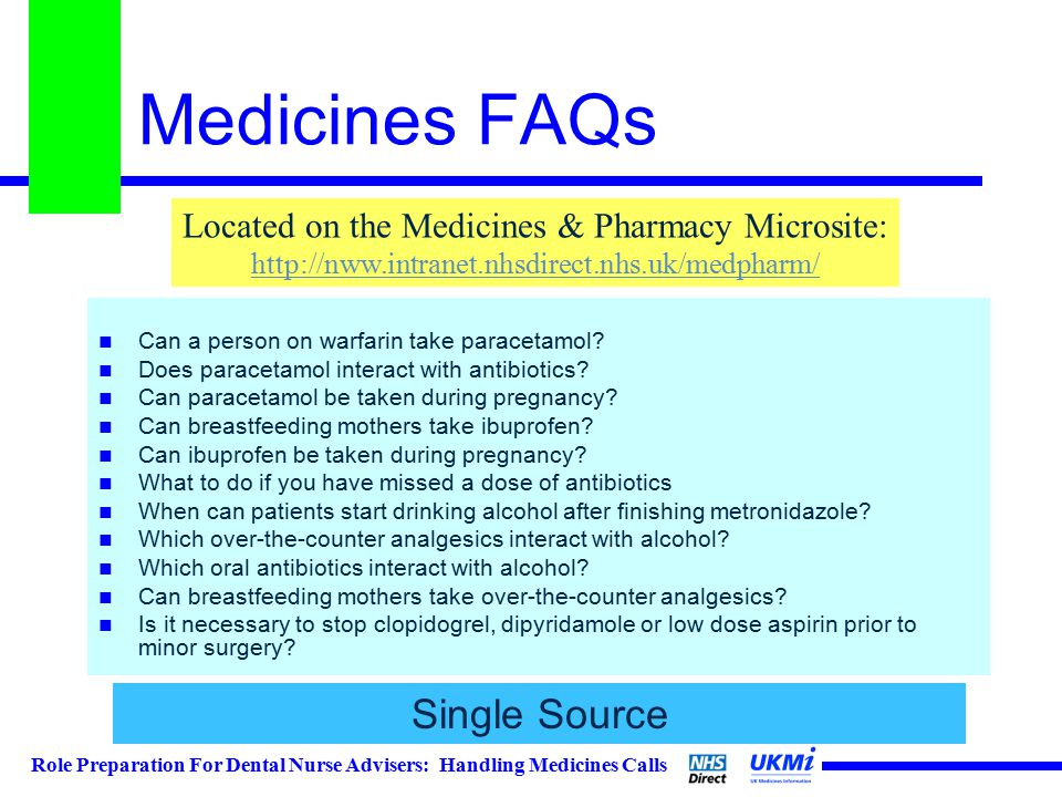 Role Preparation For Dental Nurse Advisers: Handling Medicines Calls Medicines FAQs Can a person on warfarin take paracetamol.