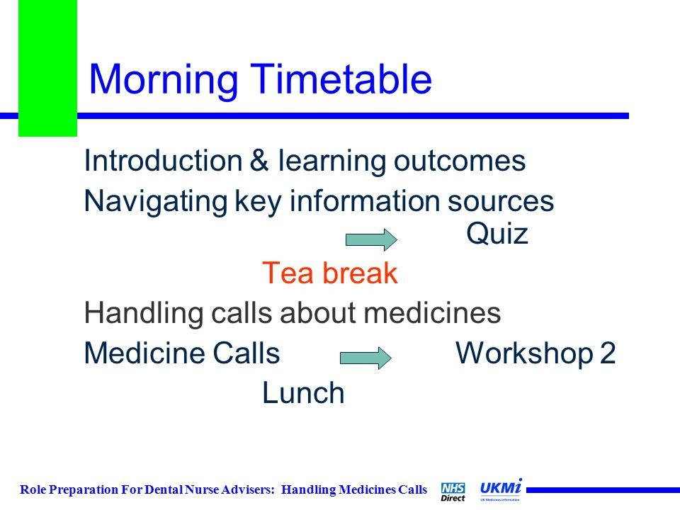 Role Preparation For Dental Nurse Advisers: Handling Medicines Calls Morning Timetable Introduction & learning outcomes Navigating key information sources Quiz Tea break Handling calls about medicines Medicine Calls Workshop 2 Lunch