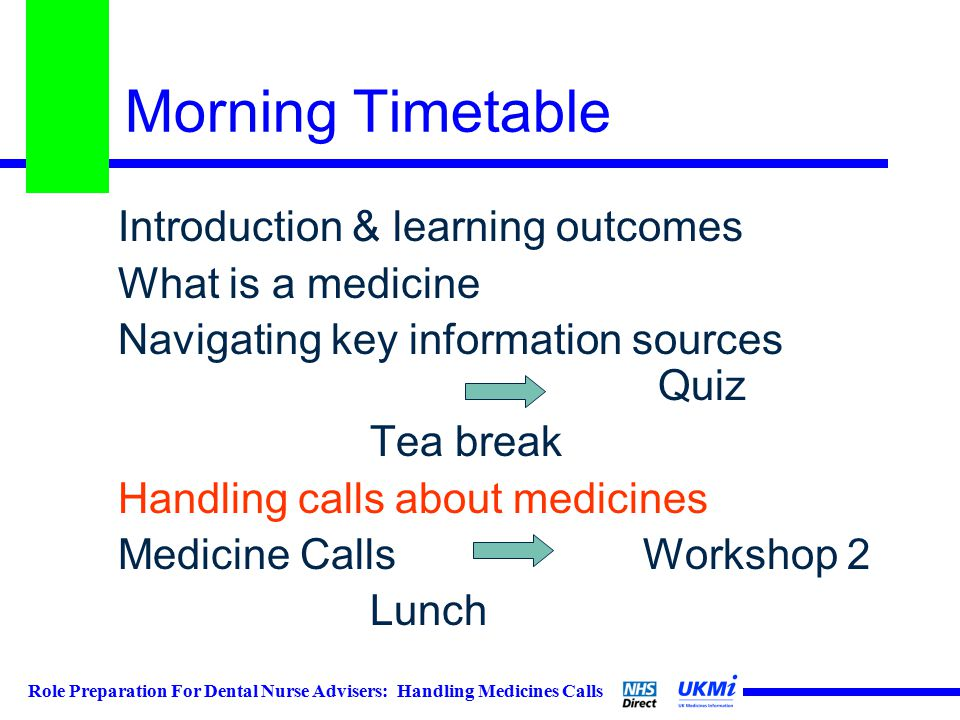 Morning Timetable Introduction & learning outcomes What is a medicine Navigating key information sources Quiz Tea break Handling calls about medicines Medicine Calls Workshop 2 Lunch