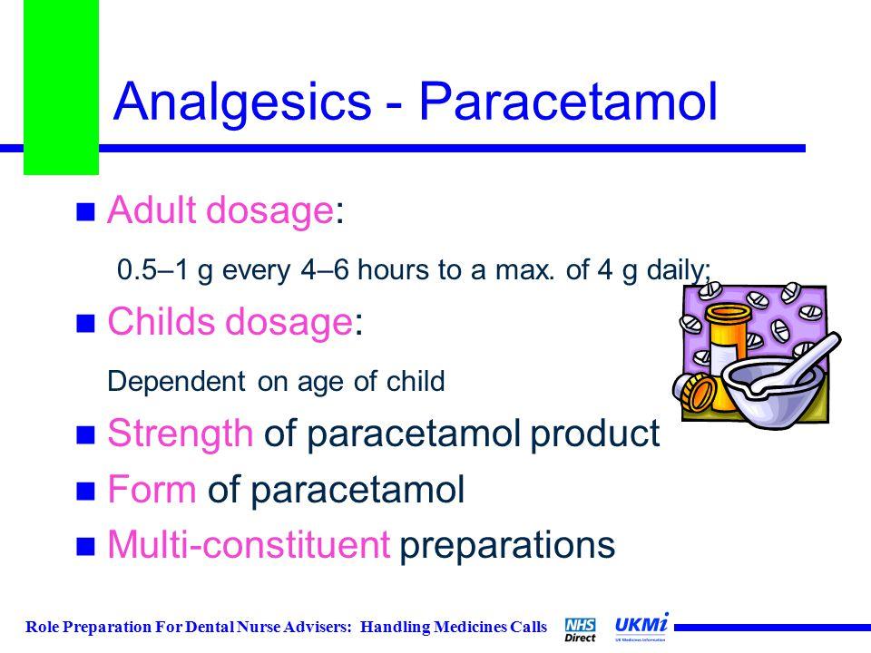 Role Preparation For Dental Nurse Advisers: Handling Medicines Calls Analgesics - Paracetamol Adult dosage: 0.5–1 g every 4–6 hours to a max.