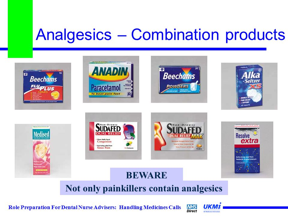 Role Preparation For Dental Nurse Advisers: Handling Medicines Calls Analgesics – Combination products Not only painkillers contain analgesics BEWARE