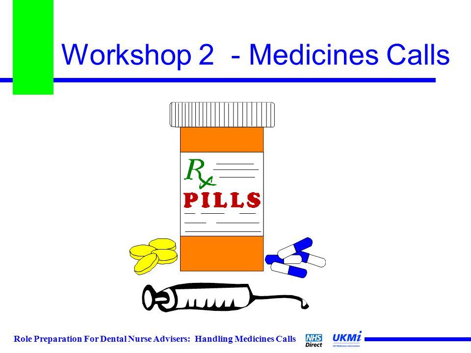Role Preparation For Dental Nurse Advisers: Handling Medicines Calls Workshop 2 - Medicines Calls