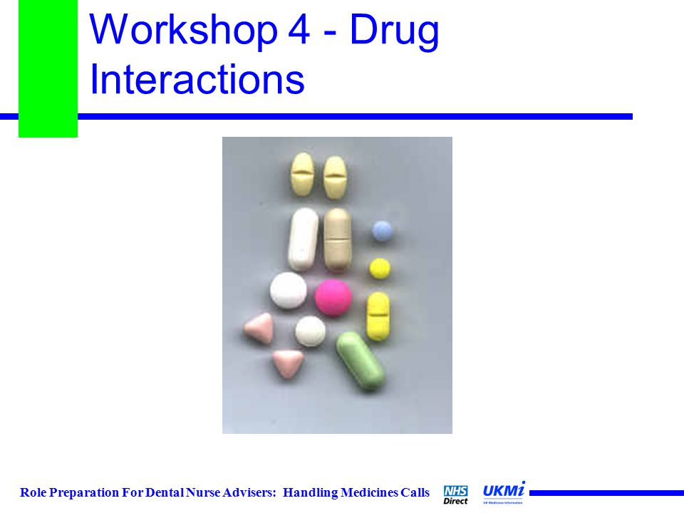 Role Preparation For Dental Nurse Advisers: Handling Medicines Calls Workshop 4 - Drug Interactions
