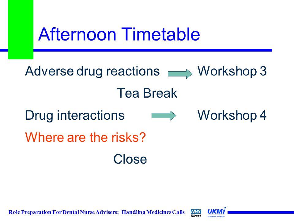 Role Preparation For Dental Nurse Advisers: Handling Medicines Calls Afternoon Timetable Adverse drug reactions Workshop 3 Tea Break Drug interactions Workshop 4 Where are the risks.