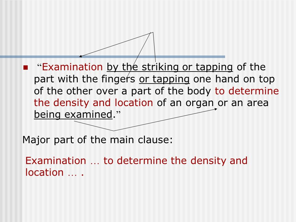 """"""" Examination by the striking or tapping of the part with the fingers or tapping one hand on top of the other over a part of the body to determine the"""