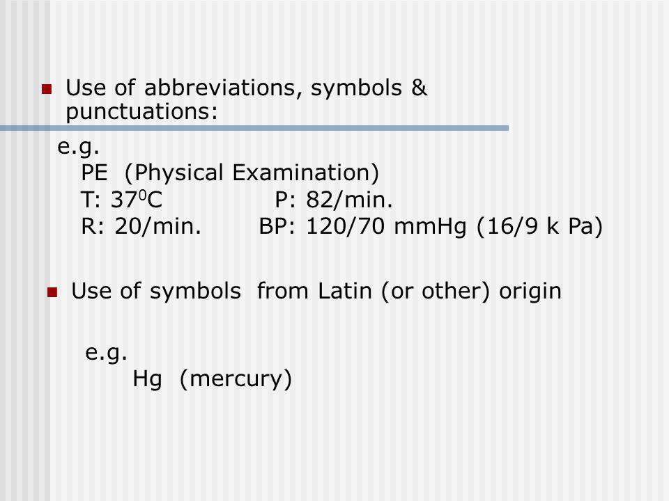 Use of abbreviations, symbols & punctuations: e.g.