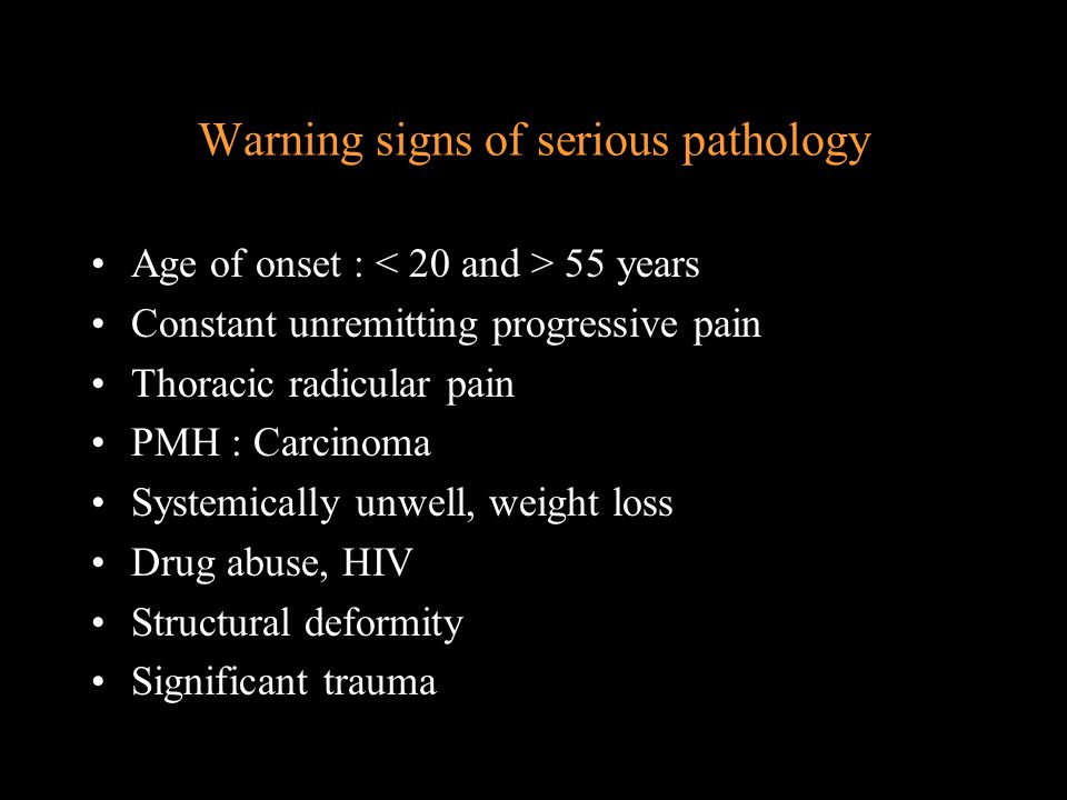 Diagnostic Triage Nerve root pain Unilateral leg pain worse than LBP Radiation to foot or toes Radicular Sx or signs SLR Sensory disturbance Motor weakness Reflex changes Prognosis 50% improved within 6/52