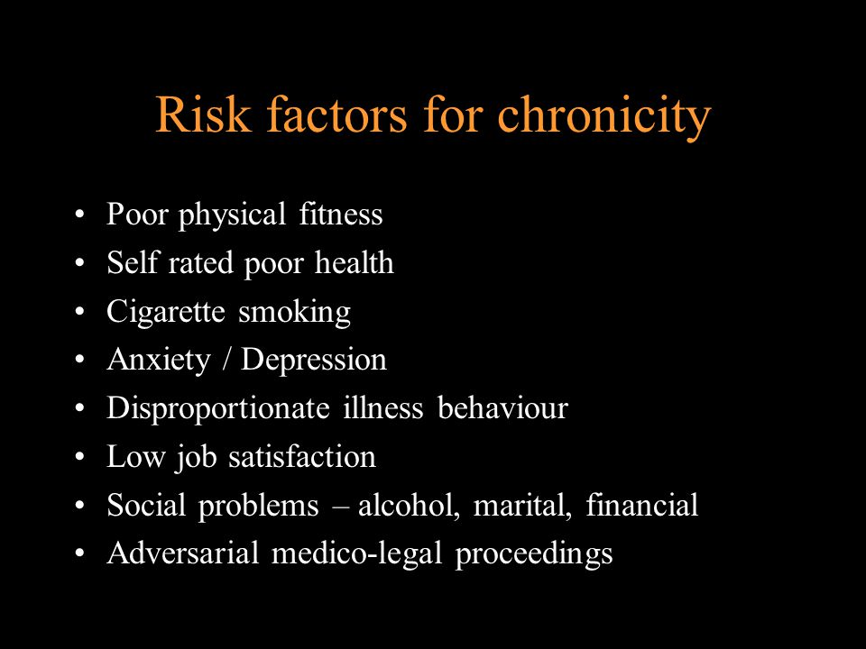 Risk factors for chronicity Previous history of LBP Total work loss in past 12 months Radiating leg pain Reduced SLR Signs of radiculopathy Reduced abdominal muscle strength and endurance