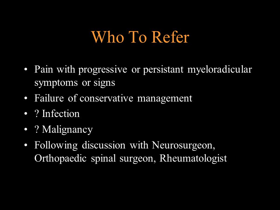 PRIMARY CARE MANAGEMENT OF SIMPLE BACK PAIN Is function improving but pain still present Return to work or normal activity Reassess diagnostic triage Relevant investigations Psychosocial, occupational If positive refer Patient information Active rehabilitation Is function improving but pain still present Return to work or normal activity Yes No Secondary referral Back pain rehabilitation service No Yes