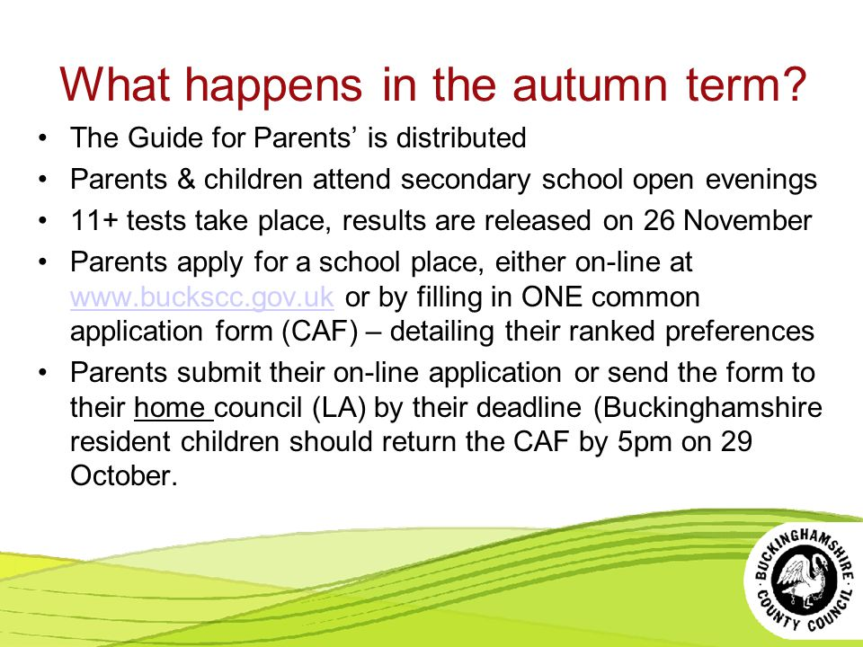 What happens in the autumn term.