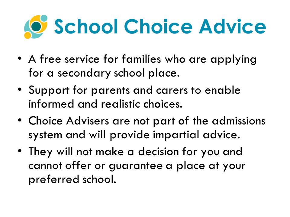 A free service for families who are applying for a secondary school place.