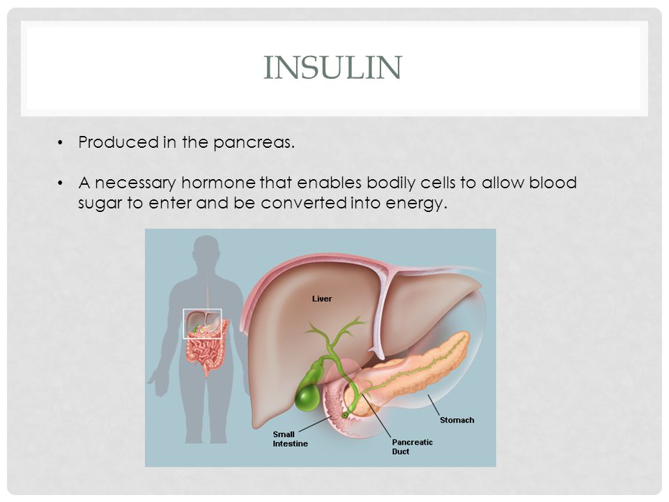 INSULIN Produced in the pancreas.