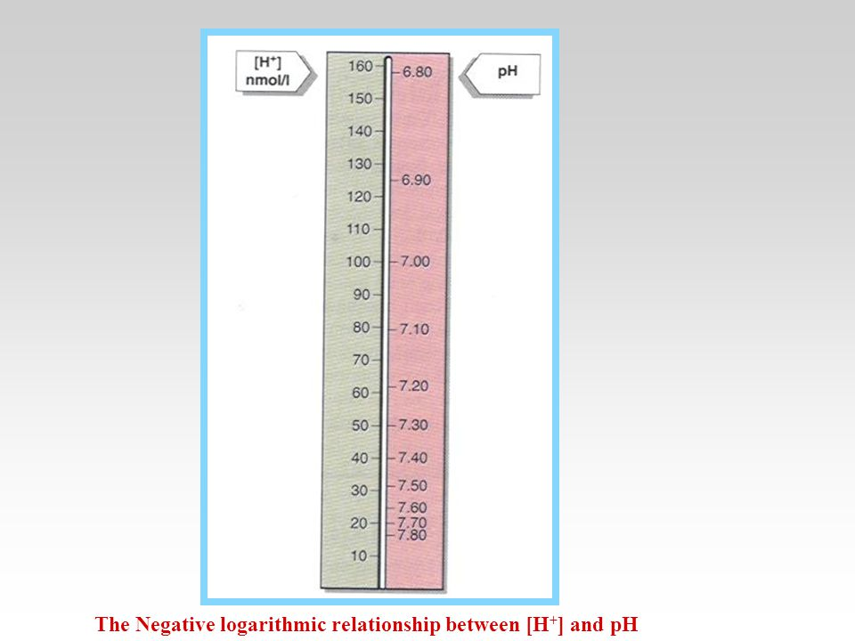 The Negative logarithmic relationship between [H + ] and pH