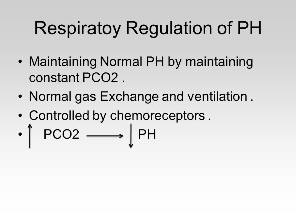 Respiratoy Regulation of PH Maintaining Normal PH by maintaining constant PCO2. Normal gas Exchange and ventilation. Controlled by chemoreceptors. PCO