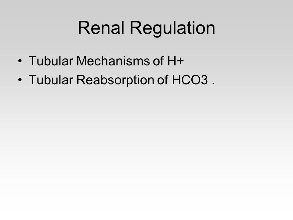 Renal Regulation Tubular Mechanisms of H+ Tubular Reabsorption of HCO3.