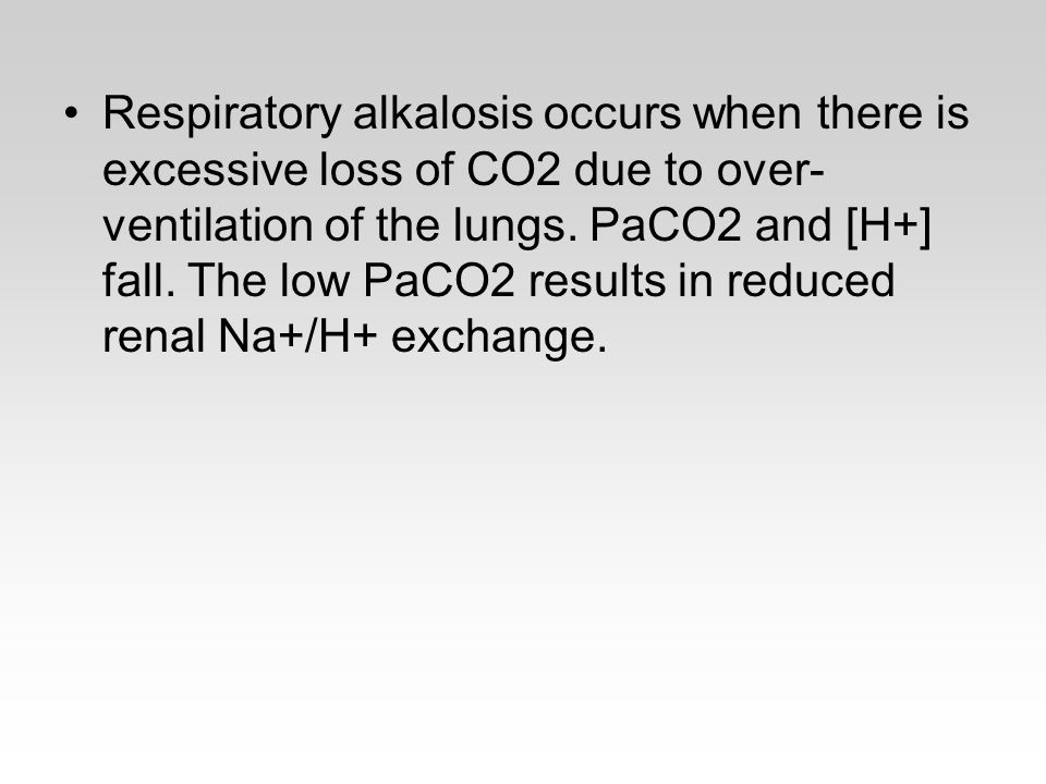 Respiratory alkalosis occurs when there is excessive loss of CO2 due to over- ventilation of the lungs.