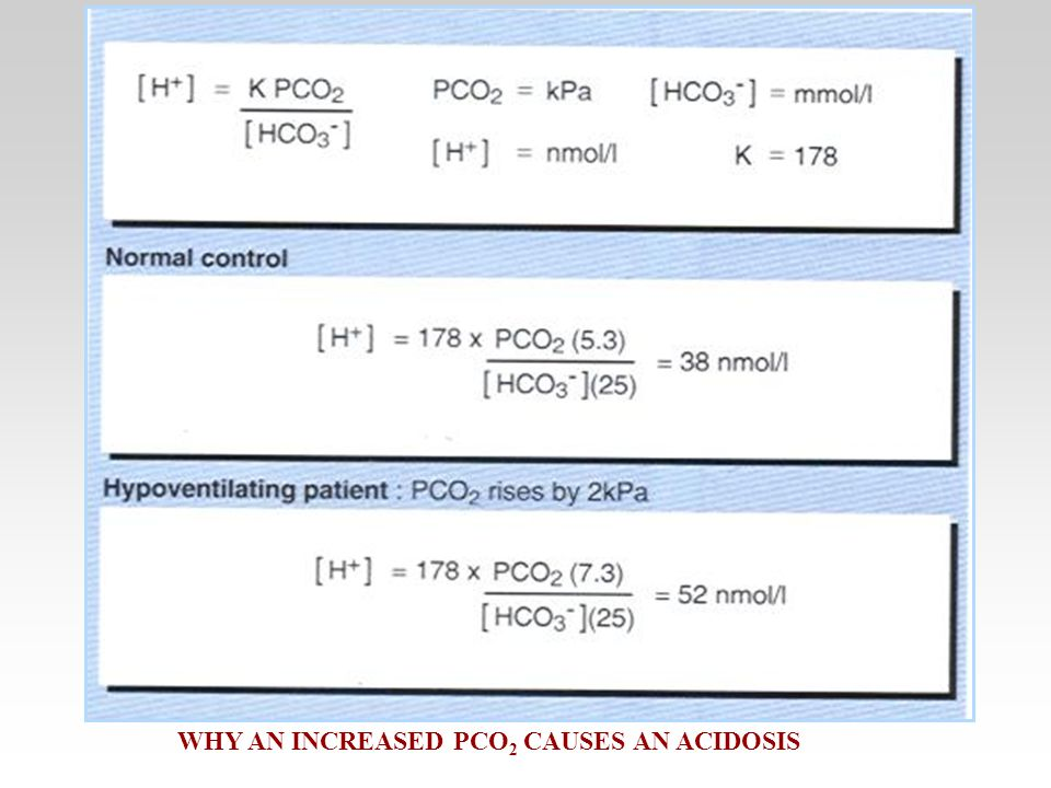 WHY AN INCREASED PCO 2 CAUSES AN ACIDOSIS