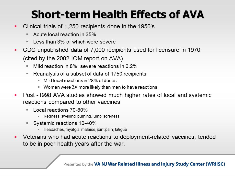 Short-term Health Effects of AVA  Clinical trials of 1,250 recipients done in the 1950's  Acute local reaction in 35%  Less than 3% of which were severe  CDC unpublished data of 7,000 recipients used for licensure in 1970 (cited by the 2002 IOM report on AVA)  Mild reaction in 8%; severe reactions in 0.2%  Reanalysis of a subset of data of 1750 recipients  Mild local reactions in 28% of doses  Women were 3X more likely than men to have reactions  Post -1998 AVA studies showed much higher rates of local and systemic reactions compared to other vaccines  Local reactions 70-80%  Redness, swelling, burning, lump, soreness  Systemic reactions 10-40%  Headaches, myalgia, malaise, joint pain, fatigue  Veterans who had acute reactions to deployment-related vaccines, tended to be in poor health years after the war.